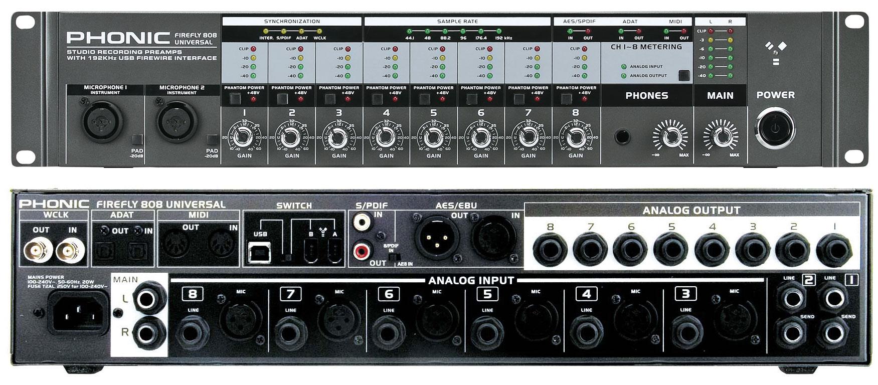 phonic firefly 808 u phonic firefly 808 u 24bit 192khz firewire audio interface with 8x. Black Bedroom Furniture Sets. Home Design Ideas