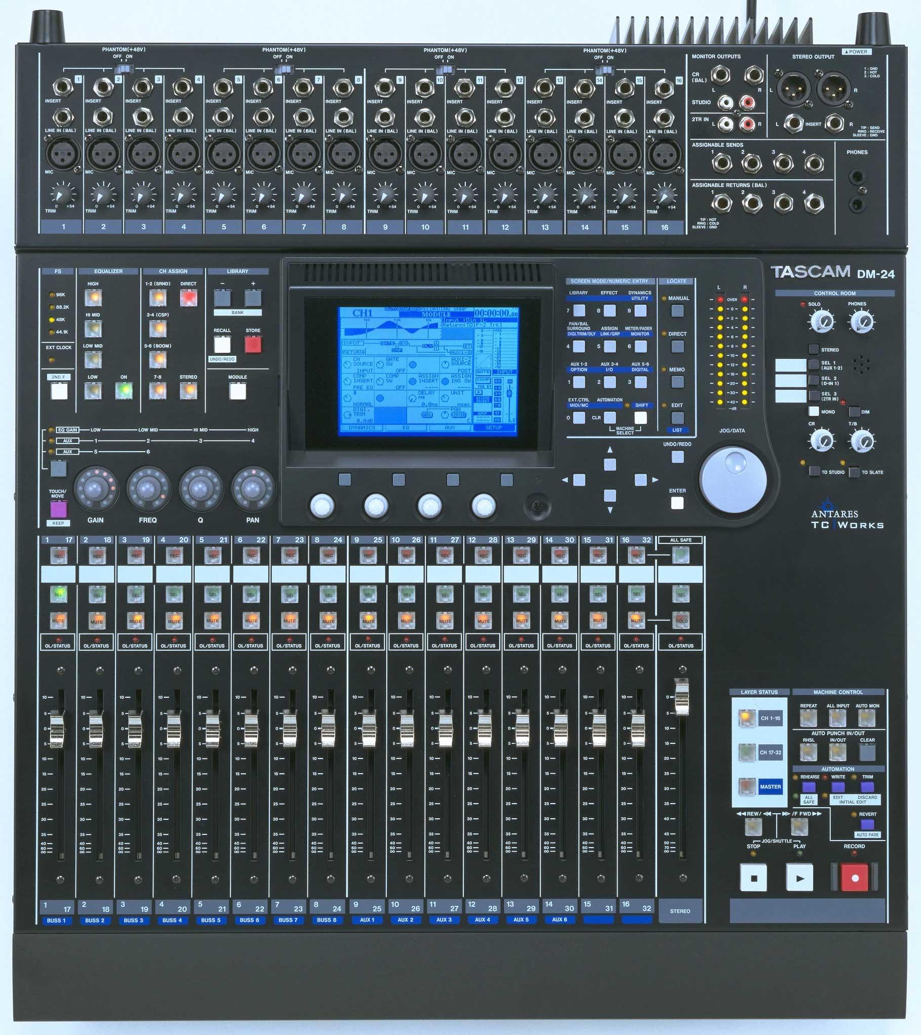 tascam dm 24 tascam dm 24 96 8 bus digital mixing desk with 96 khz 16 mic line in 39 s 3x t dif. Black Bedroom Furniture Sets. Home Design Ideas